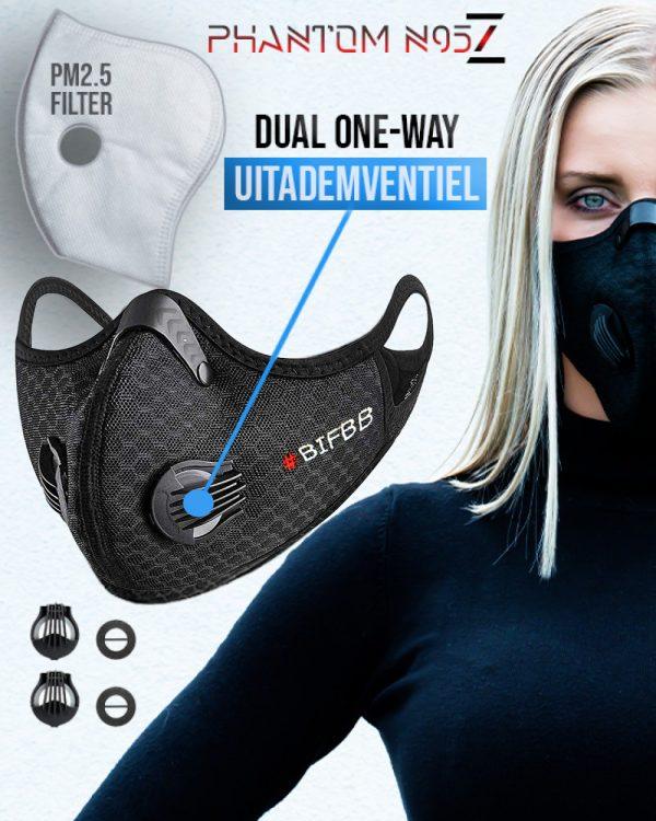 Phantom n95 Z mondmasker mondkapje black_gepersonaliseerd