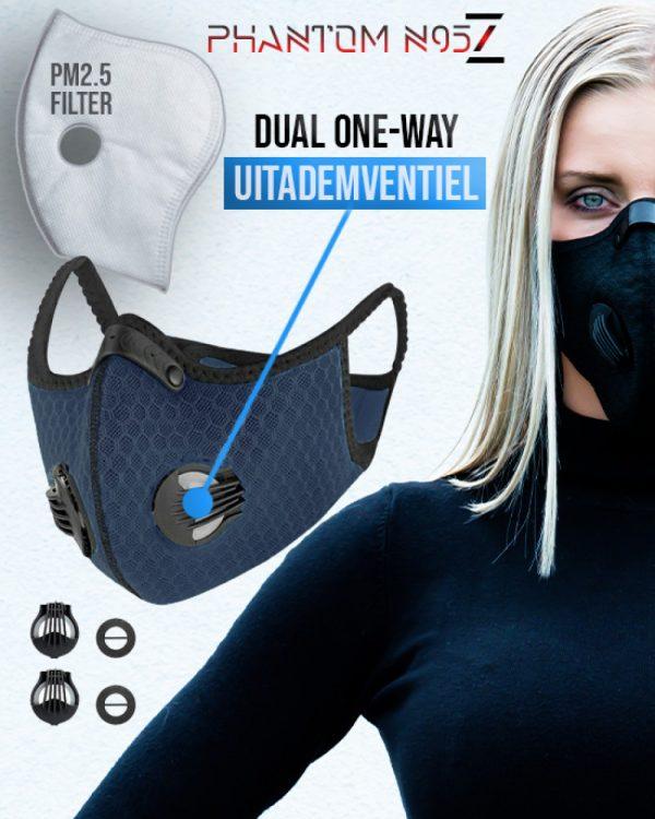 Phantom n95 Z mondmasker mondkapje donkerblauw