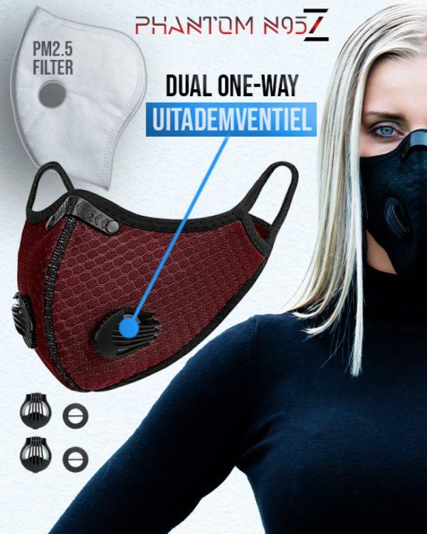 Phantom n95 Z mondmasker mondkapje deep rood