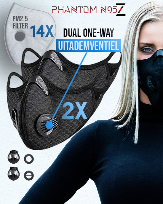 Phantom n95 z mondmaskers duo zwart