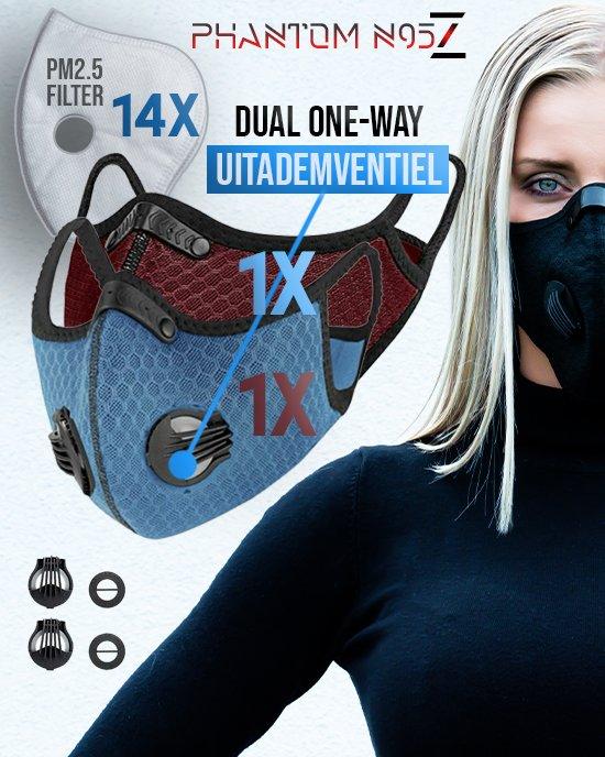 2 x Phantom n95 Z masker blauw rood 14 filter