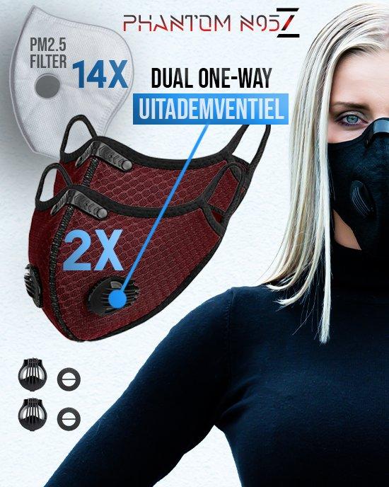 2 x Phantom n95 Z masker zwart deep red 14 filter
