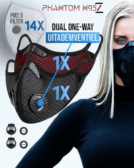 2 x Phantom n95 Z masker zwart rood 14 filter