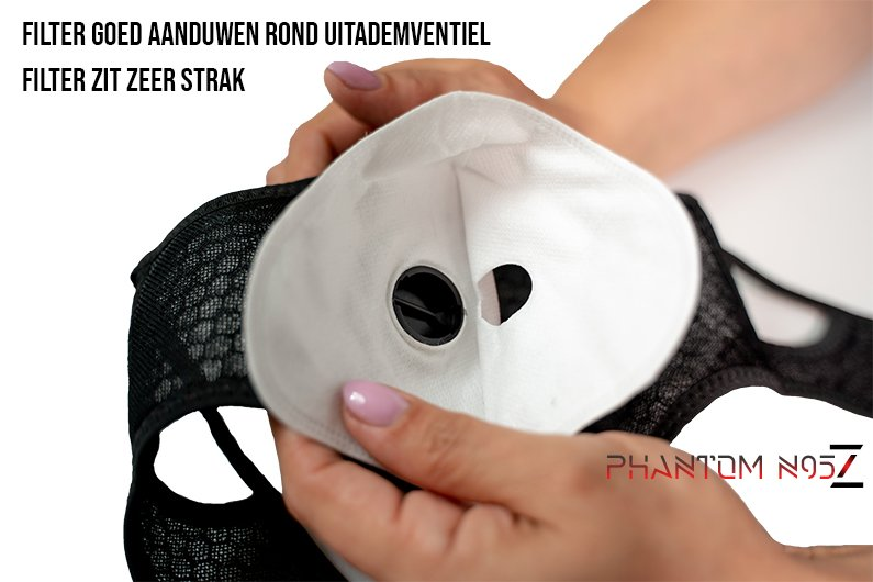 Phantom n95 z masker correcte n95 filter goed aanduwen