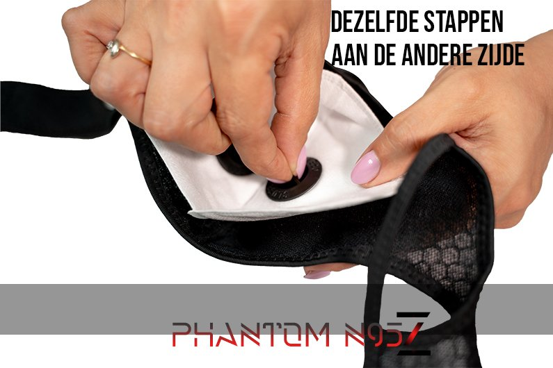 Phantom n95 z masker zelvde stappen aan de andere kant
